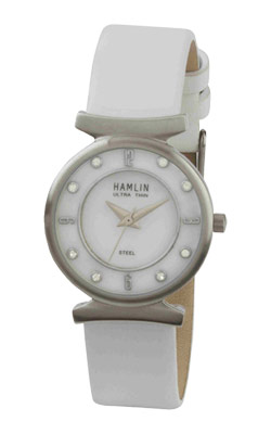 Ladies Genuine White Leather Band Stone Dial