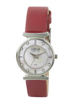 Ladies Red Leather Band Stone Dial