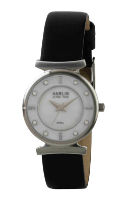 Ladies Black Leather Band Stone Dial