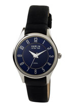 Ladies Black Leather Blue Dial 1 (HAML0303:011)