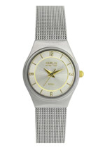Ladies Bevel Case Gold Markers Silver Dial (HAML0904:001)